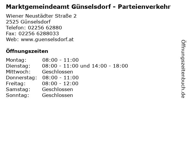Marktgemeindeamt Günselsdorf - Parteienverkehr in Günselsdorf: Adresse und Öffnungszeiten