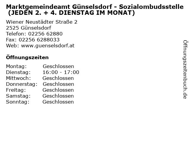 Marktgemeindeamt Günselsdorf - Sozialombudsstelle (JEDEN 2. + 4. DIENSTAG IM MONAT) in Günselsdorf: Adresse und Öffnungszeiten