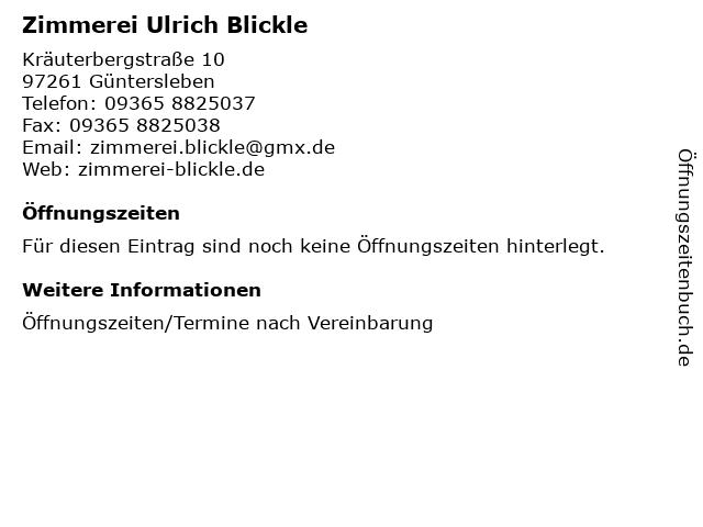 Zimmerei Ulrich Blickle in Güntersleben: Adresse und Öffnungszeiten