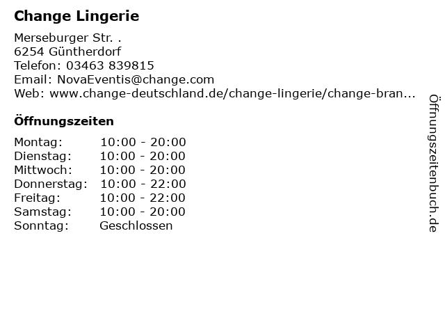 Change Lingerie in Güntherdorf: Adresse und Öffnungszeiten