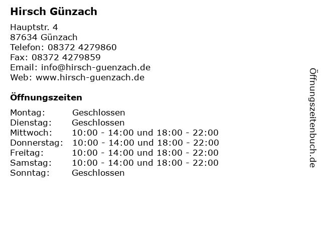 Hirsch Günzach in Günzach: Adresse und Öffnungszeiten