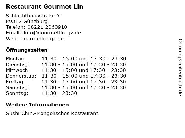 Restaurant Gourmet Lin in Günzburg: Adresse und Öffnungszeiten