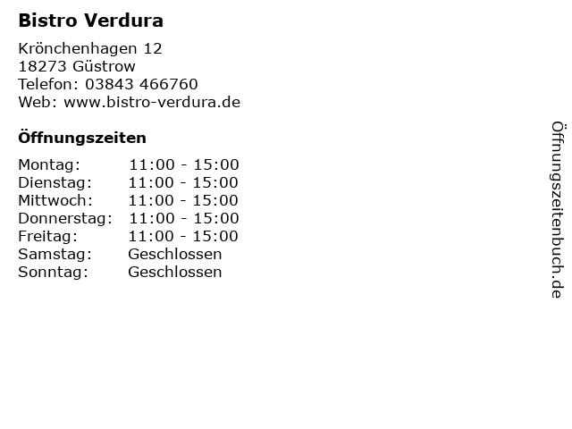 Bistro Verdura in Güstrow: Adresse und Öffnungszeiten