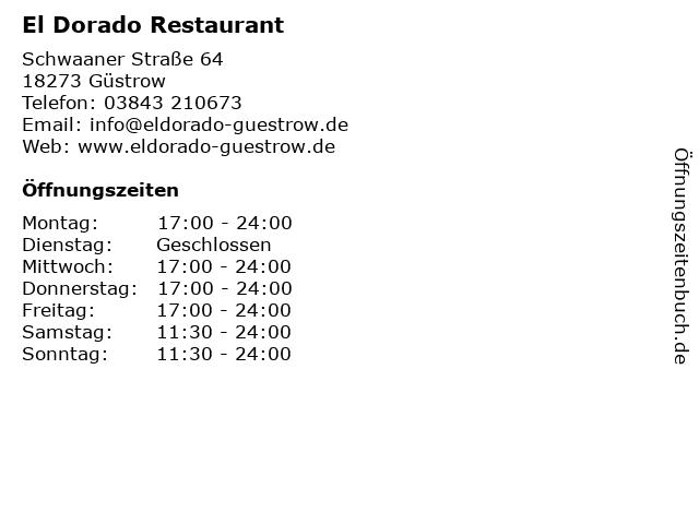 El Dorado Restaurant in Güstrow: Adresse und Öffnungszeiten