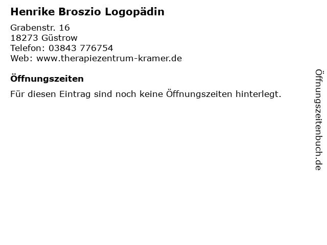 Henrike Broszio Logopädin in Güstrow: Adresse und Öffnungszeiten