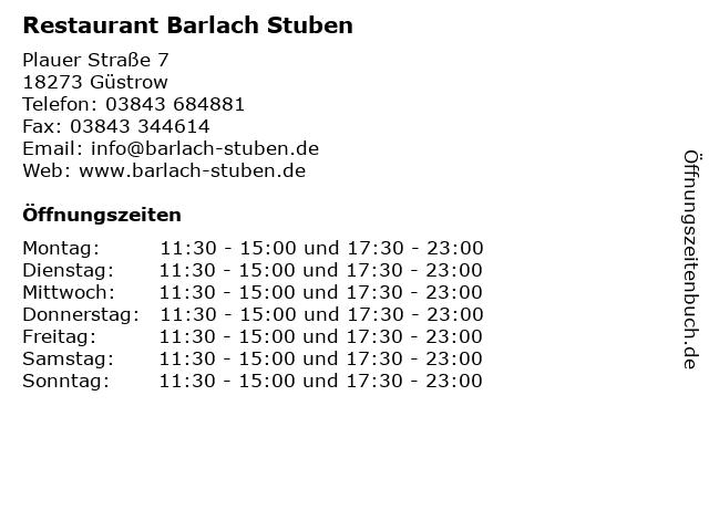 Restaurant Barlach Stuben in Güstrow: Adresse und Öffnungszeiten