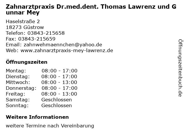 Zahnarztpraxis Dr.med.dent. Thomas Lawrenz und Gunnar Mey in Güstrow: Adresse und Öffnungszeiten
