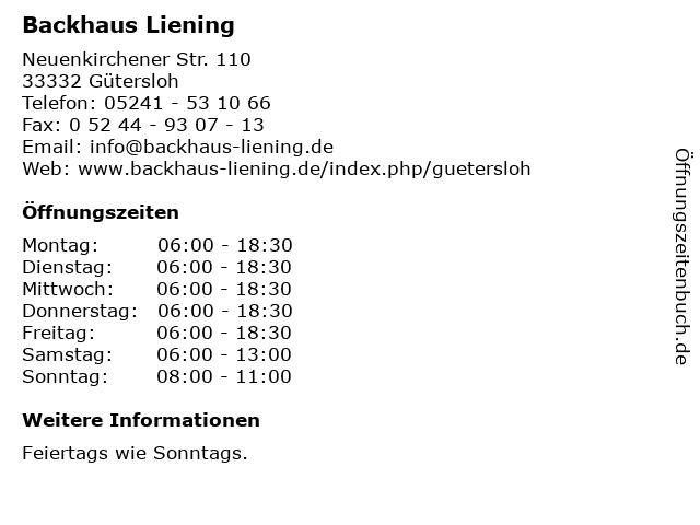 Backhaus Liening in Gütersloh: Adresse und Öffnungszeiten