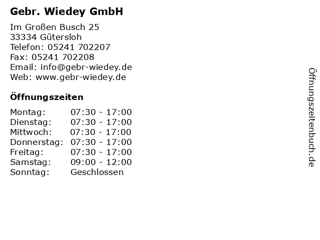 Gebr. Wiedey GmbH in Gütersloh: Adresse und Öffnungszeiten