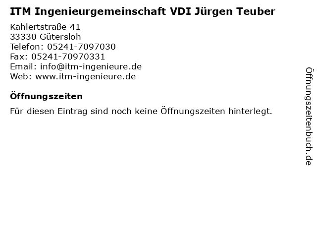 ITM Ingenieurgemeinschaft VDI Jürgen Teuber in Gütersloh: Adresse und Öffnungszeiten
