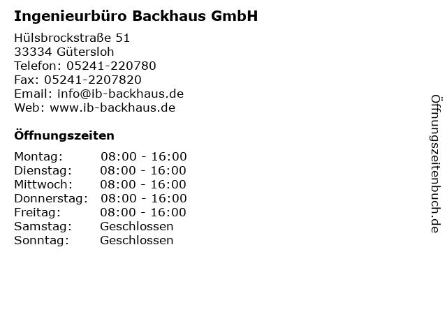 Ingenieurbüro Backhaus GmbH in Gütersloh: Adresse und Öffnungszeiten