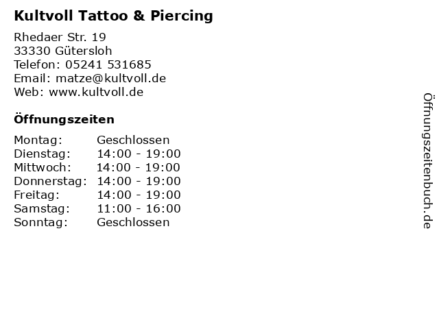 Kultvoll Tattoo & Piercing in Gütersloh: Adresse und Öffnungszeiten