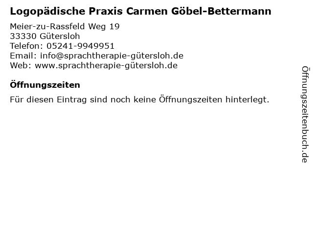 Logopädische Praxis Carmen Göbel-Bettermann in Gütersloh: Adresse und Öffnungszeiten