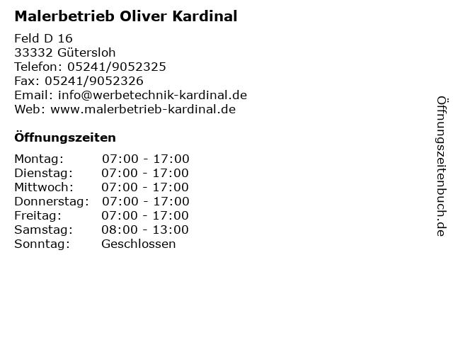 Malerbetrieb Oliver Kardinal in Gütersloh: Adresse und Öffnungszeiten