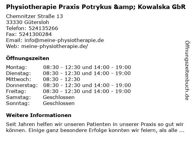 Physiotherapie Praxis Potrykus & Kowalska GbR in Gütersloh: Adresse und Öffnungszeiten