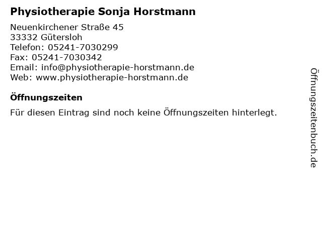 Physiotherapie Sonja Horstmann in Gütersloh: Adresse und Öffnungszeiten
