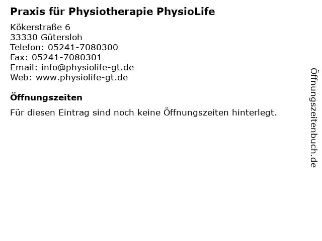Praxis für Physiotherapie PhysioLife in Gütersloh: Adresse und Öffnungszeiten