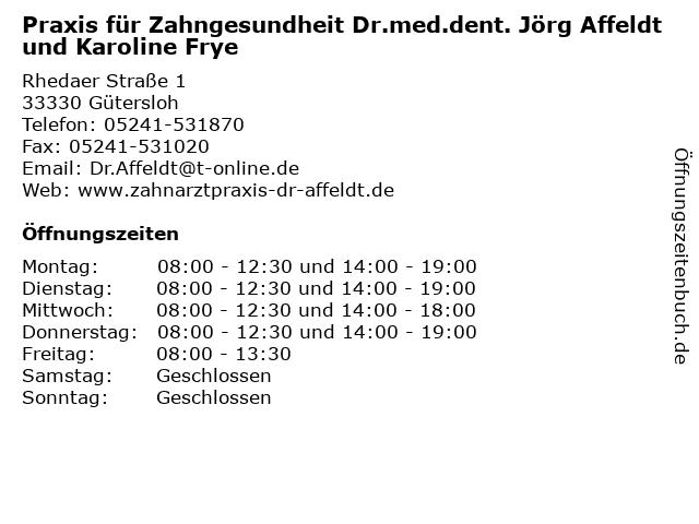 Praxis für Zahngesundheit Dr.med.dent. Jörg Affeldt und Karoline Frye in Gütersloh: Adresse und Öffnungszeiten