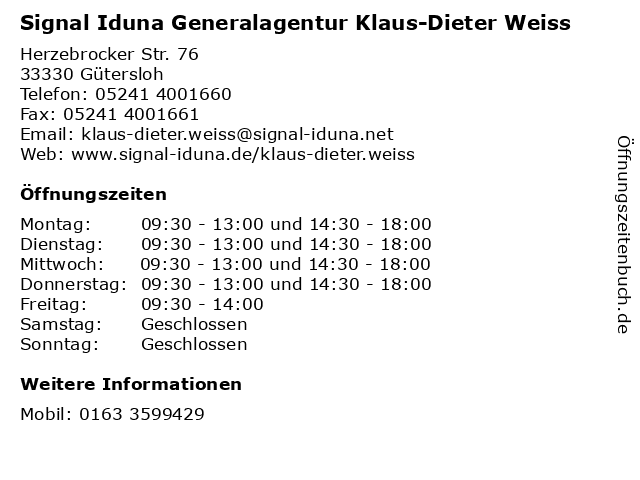 Signal Iduna Generalagentur Klaus-Dieter Weiss in Gütersloh: Adresse und Öffnungszeiten