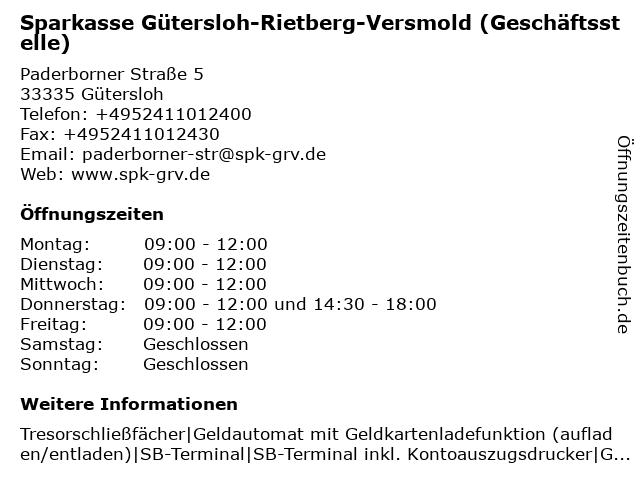 Sparkasse Gütersloh-Rietberg - Geschäftsstelle Friedrichsdorf in Gütersloh: Adresse und Öffnungszeiten