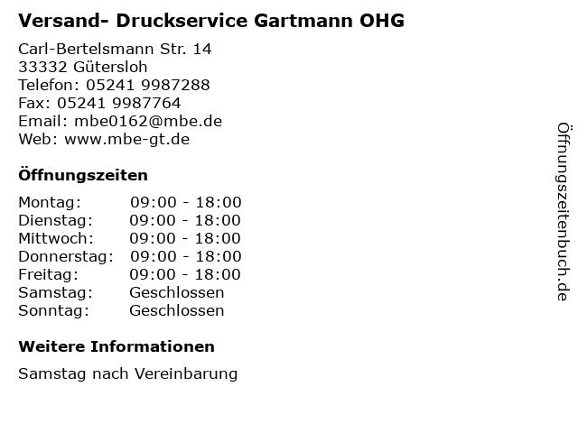 Versand- Druckservice Gartmann OHG in Gütersloh: Adresse und Öffnungszeiten