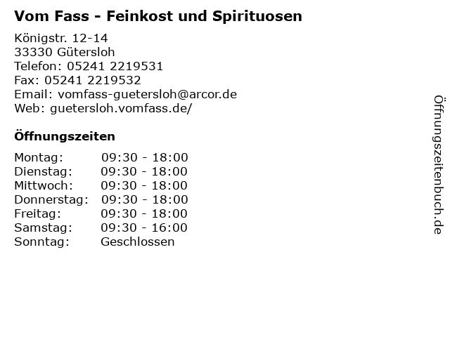 Vom Fass - Feinkost und Spirituosen in Gütersloh: Adresse und Öffnungszeiten