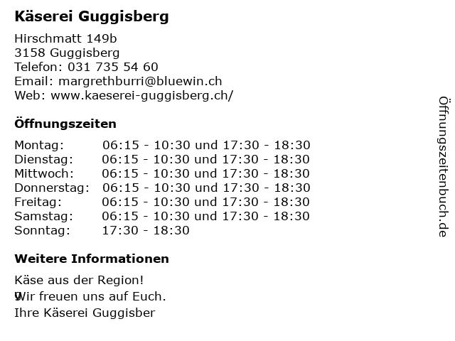 Käserei Guggisberg in Guggisberg: Adresse und Öffnungszeiten