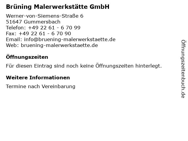 Brüning Malerwerkstätte GmbH in Gummersbach: Adresse und Öffnungszeiten