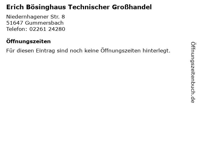 Erich Bösinghaus Technischer Großhandel in Gummersbach: Adresse und Öffnungszeiten