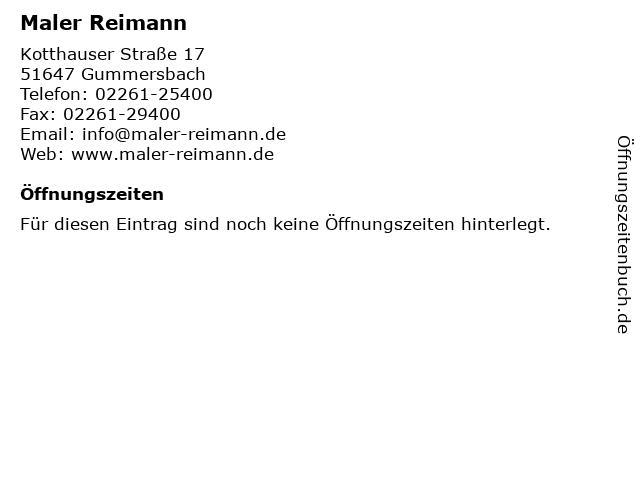 Maler Reimann in Gummersbach: Adresse und Öffnungszeiten