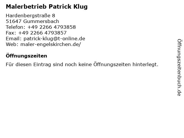 Malerbetrieb Patrick Klug in Gummersbach: Adresse und Öffnungszeiten