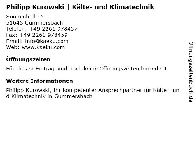 Philipp Kurowski | Kälte- und Klimatechnik in Gummersbach: Adresse und Öffnungszeiten