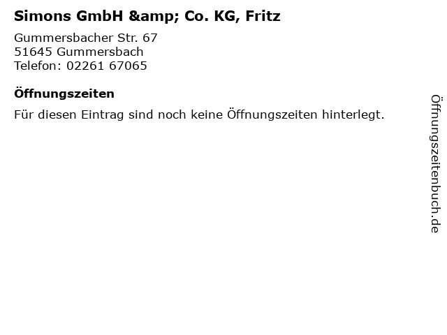 Simons GmbH & Co. KG, Fritz in Gummersbach: Adresse und Öffnungszeiten