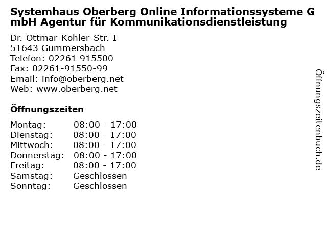 ᐅ Offnungszeiten Systemhaus Oberberg Online Informationssysteme