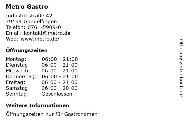 METRO Restaurant Gundelfingen in Gundelfingen: Adresse und Öffnungszeiten