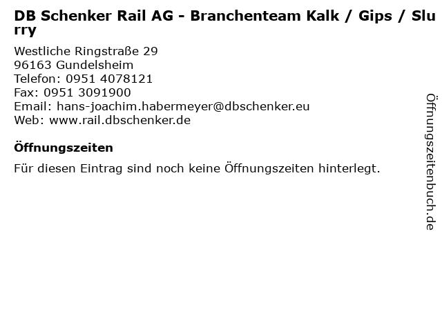 DB Schenker Rail AG - Branchenteam Kalk / Gips / Slurry in Gundelsheim: Adresse und Öffnungszeiten