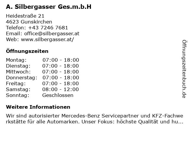 A.Silbergasser Ges.m.b.H in Gunskirchen: Adresse und Öffnungszeiten