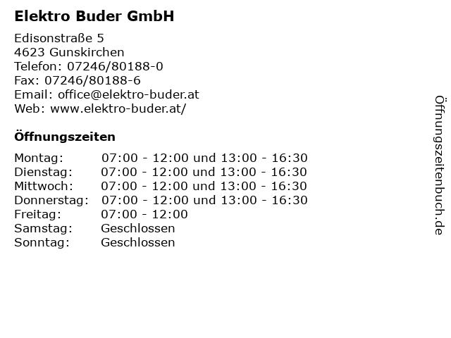 Elektro Buder GmbH in Gunskirchen: Adresse und Öffnungszeiten