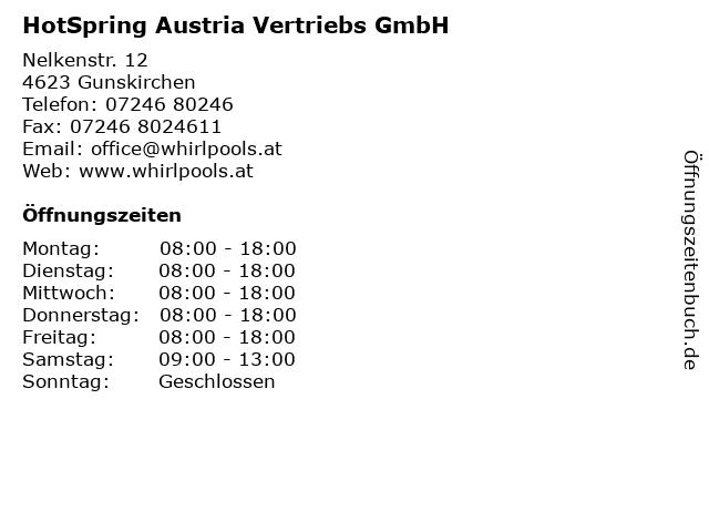 HotSpring Austria Vertriebs GmbH in Gunskirchen: Adresse und Öffnungszeiten