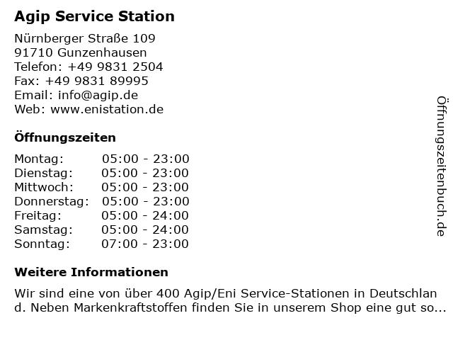 Agip Service Station in Gunzenhausen: Adresse und Öffnungszeiten