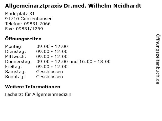 Allgemeinarztpraxis Dr.med. Wilhelm Neidhardt in Gunzenhausen: Adresse und Öffnungszeiten