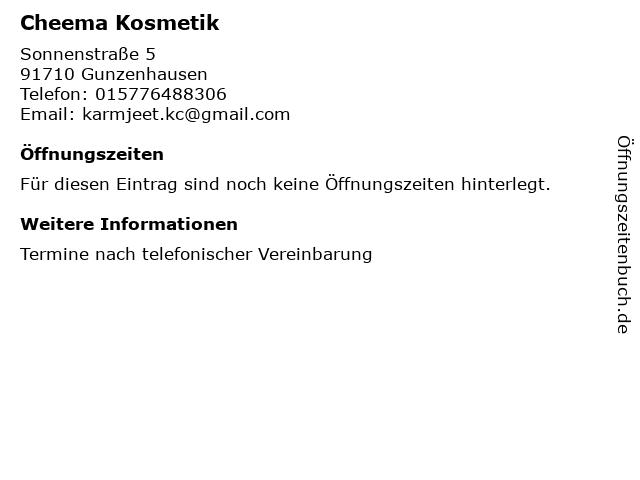 Cheema Kosmetik in Gunzenhausen: Adresse und Öffnungszeiten