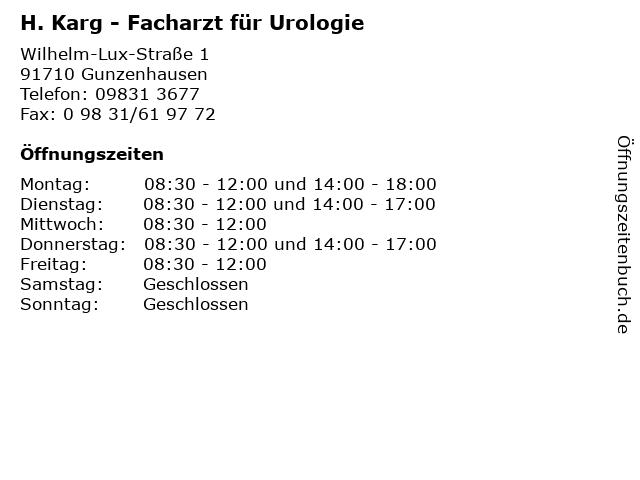 Urologische Praxis Dr.med. Andreas Ostertag in Gunzenhausen: Adresse und Öffnungszeiten