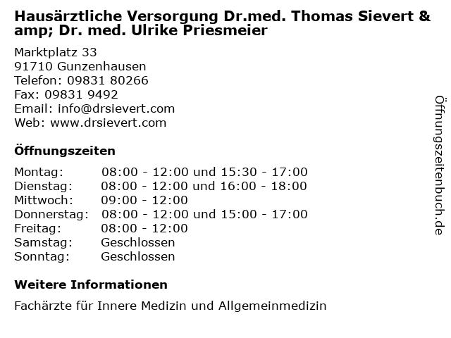 Hausärztliche Versorgung Dr.med. Thomas Sievert & Dr. med. Ulrike Priesmeier in Gunzenhausen: Adresse und Öffnungszeiten