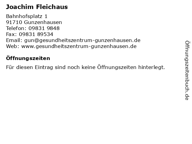 Joachim Fleichaus in Gunzenhausen: Adresse und Öffnungszeiten