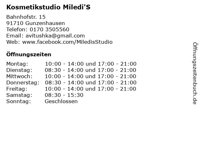 Kosmetikstudio Miledi'S in Gunzenhausen: Adresse und Öffnungszeiten