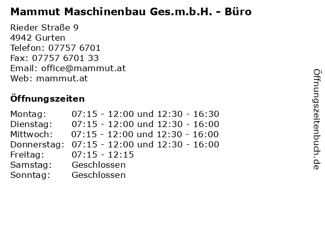 Mammut Maschinenbau Ges.m.b.H. - Büro in Gurten: Adresse und Öffnungszeiten