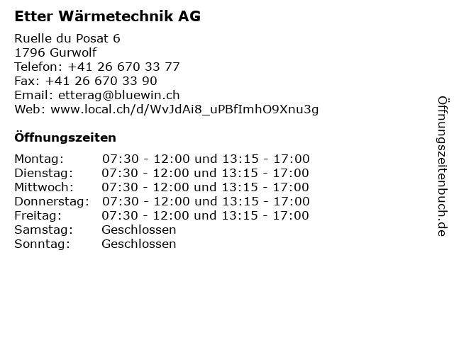 Etter Wärmetechnik AG in Gurwolf: Adresse und Öffnungszeiten