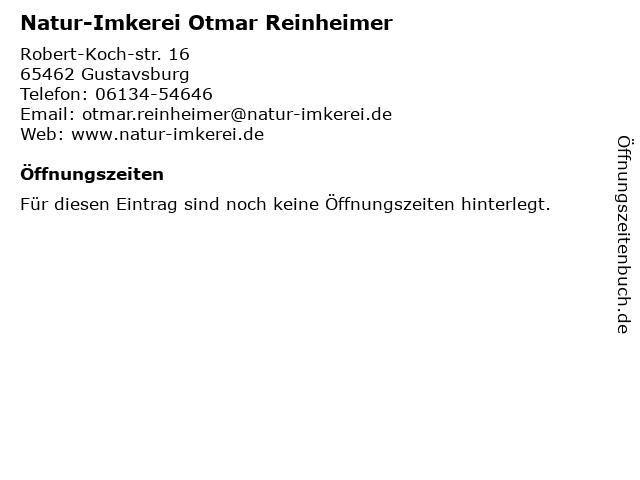 Natur-Imkerei Otmar Reinheimer in Gustavsburg: Adresse und Öffnungszeiten