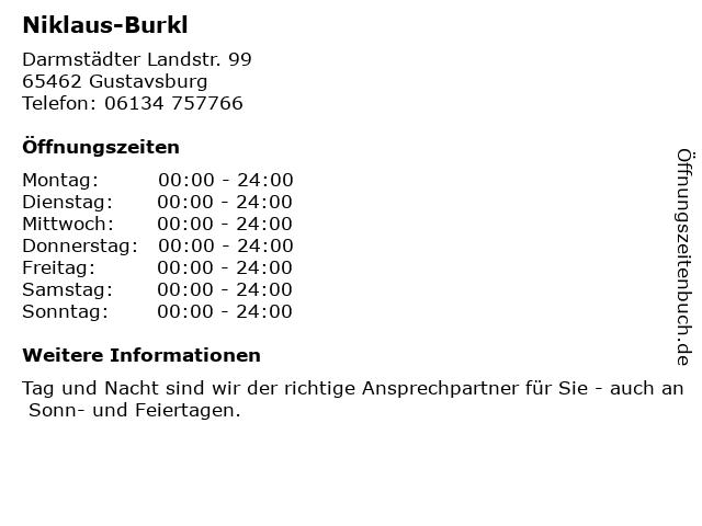 Niklaus-Burkl in Gustavsburg: Adresse und Öffnungszeiten